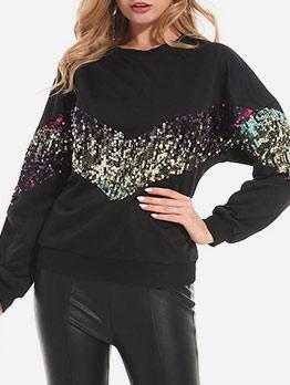 Glitter Sequins Patchwork Pullover Sweatshirt