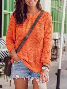 Crew Neck Loose Orange Pullover Sweater