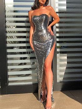 High Split Hem Sequin Strapless Formal Dress