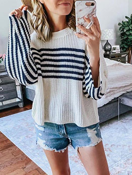 Casual Striped Loose Crew Neck Sweater