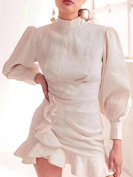 Boutique Mock Neck Ruffled Hem White Dress