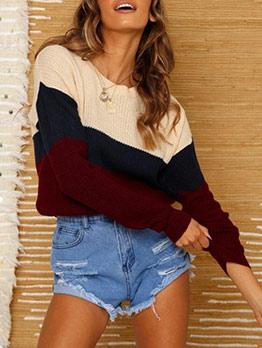 Loose Contrast Color Crew Neck Sweater