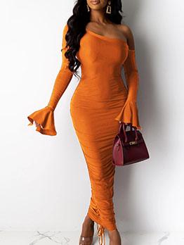 Off Shoulder Flare Sleeve Bodycon Maxi Dress