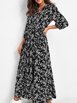 Fashion Smart Waist Floral Long Sleeve Shirt Dress