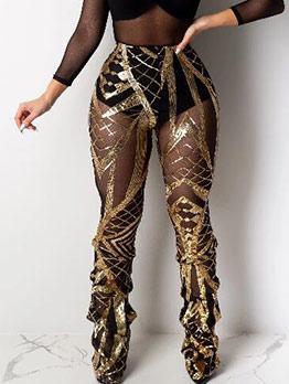High Waist Stacking Hem Sequin Pants