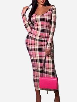 V Neck Skinny Long Sleeve Plaid Maxi Dress