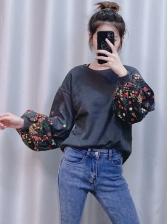 Flower Printed Lantern Sleeve Cool Sweatshirts