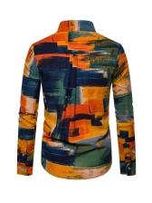 Graphic Pattern Printed Men Long Sleeve Shirts