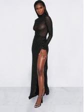 High Neck High Split See Through Sexy Maxi Dresses