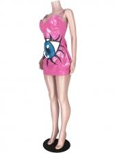 Eye Printed Leather Sleeveless Mini Dress