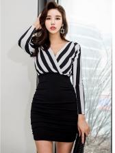 V Neck Striped Patchwork Long Sleeve Bodycon Dress