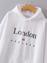 Letter Printed Solid White Hoodie