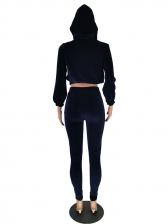 Pure Color Velvet Hooded 2 Piece Activewear Sets