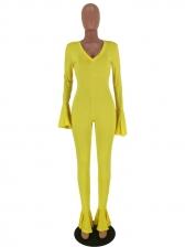 Bright Color V Neck Ruffles Casual Jumpsuits
