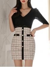V Neck Plaid Lace Patchwork One Piece Dress