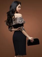 Off Shoulder Leopard Patchwork Bodycon Dress