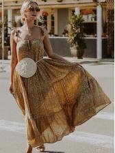 Casual Leopard Print Slip Beach Dresses