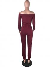 Solid Drawstring Long Sleeve Off The Shoulder Jumpsuit