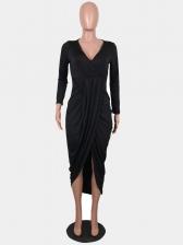 Hot Sale V Neck Slit Front Long Dress