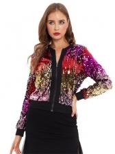 Colorful Sequins Zipper Up Short Coat For Women
