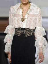 Elegant Solid Ruffled Sleeve Ladies Blouse