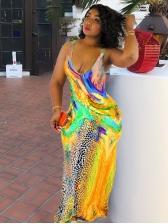 Colorful Printed U Neck Sleeveless Maxi Dress