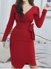 Elegant V Neck Long Sleeve Red Wrap Dress