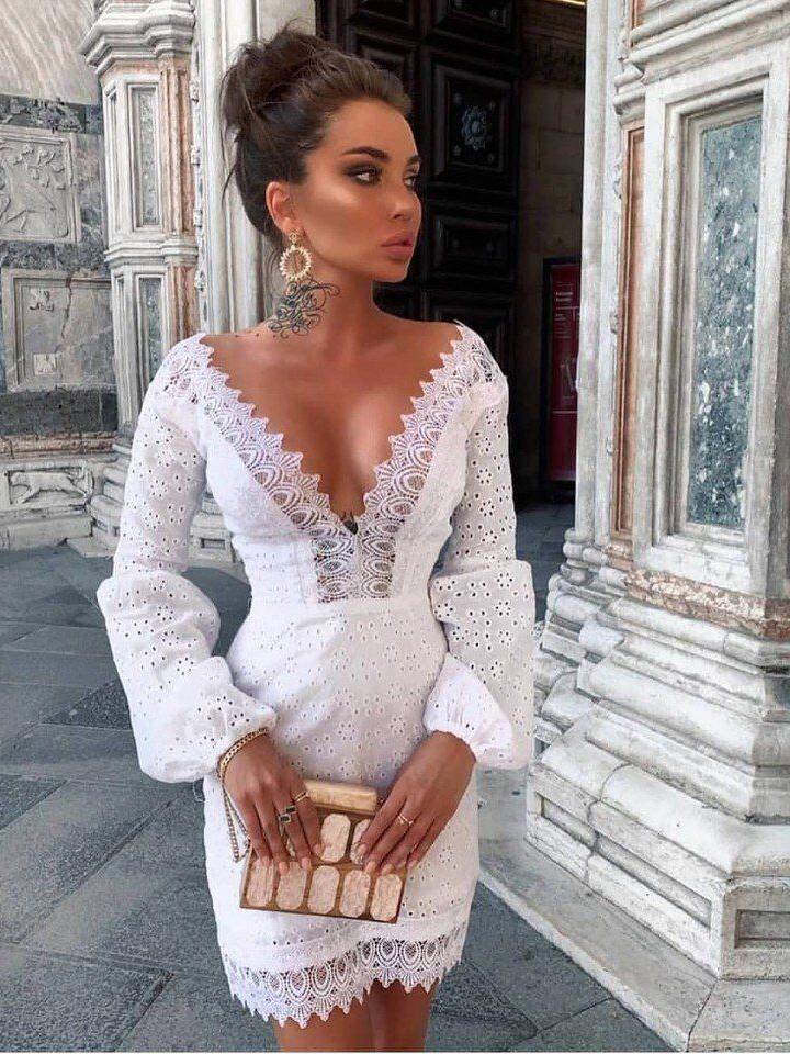 Fashion Deep v White Long Sleeve Dress