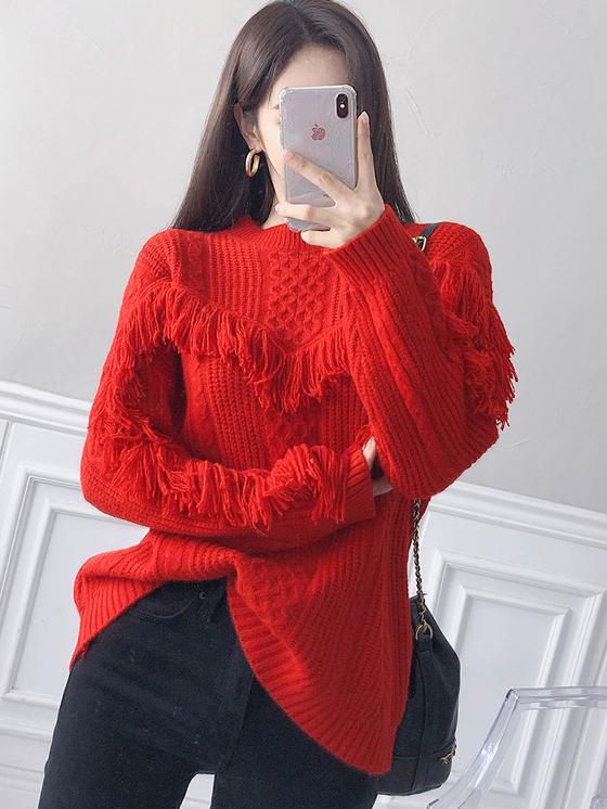 Tassel Edge Solid Crew Neck Pullover Sweater