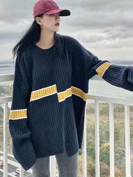 Irregular Hem Contrast Color Knit Sweater