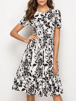 Bohemian Leaves Print Short Sleeve Summer Dresses