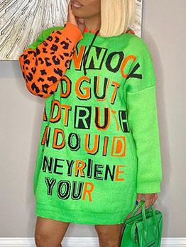 Letter Print Leopard Patchwork Hooded Dresses Online
