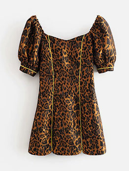 Euro Fashion Leopard Print Short Sleeve Dress