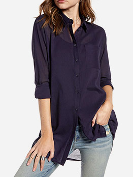 Single Breasted Solid Chiffon Long Sleeve Shirts