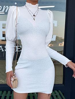 Mock Neck Solid Puff Long Sleeve Dress