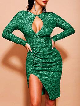 Low-Cut Skinny Long Sleeve Sequin Dress