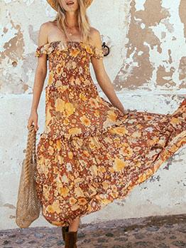 Boat Neck Large Hem Floral Boho Maxi Dress