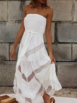 Irregular Hem White Lace Strapless Dress
