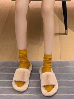 Winter Solid Slide Fluffy Slippers