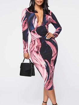 Deep V Neck Print Long Sleeve Midi Dress