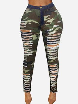 Personality Hole High Waist Skinny Camouflage Pants