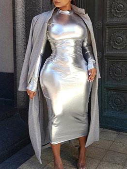 Euro Mock Neck Pure Color Long Sleeve Bodycon Dress