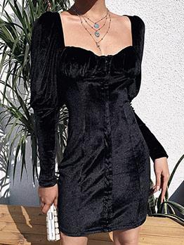 Square Collar Lantern Sleeve Little Black Dress