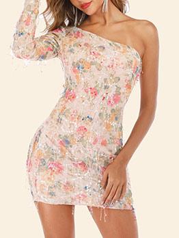 Inclined One Shoulder Tassels Floral Sequin Dress