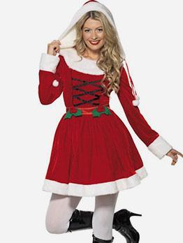 Hooded Smart Waist Long Sleeve Christmas Costume