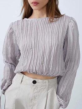 Ruffled Lace Up Sleeve Short Blouse