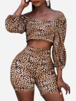 Boat Neck Leopard Print Lantern Sleeve 2 Piece Outfits