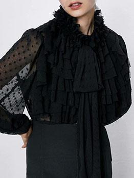 Jacquard Ruffled Tie Neck Black Blouse
