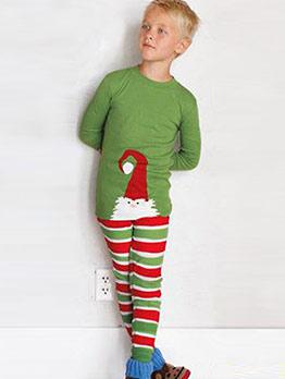 Striped Green Casual Christmas Boys Clothing Set