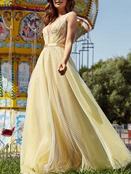 Lace Gauze Patchwork Dots Evening Maxi Dresses